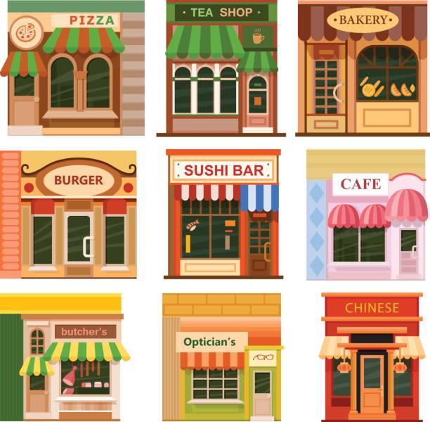 flache shop speichern icon-set - illustration optician stock-grafiken, -clipart, -cartoons und -symbole