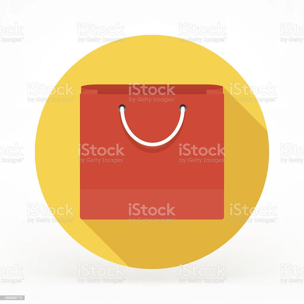 Flat Shopping Bag Icon vector art illustration