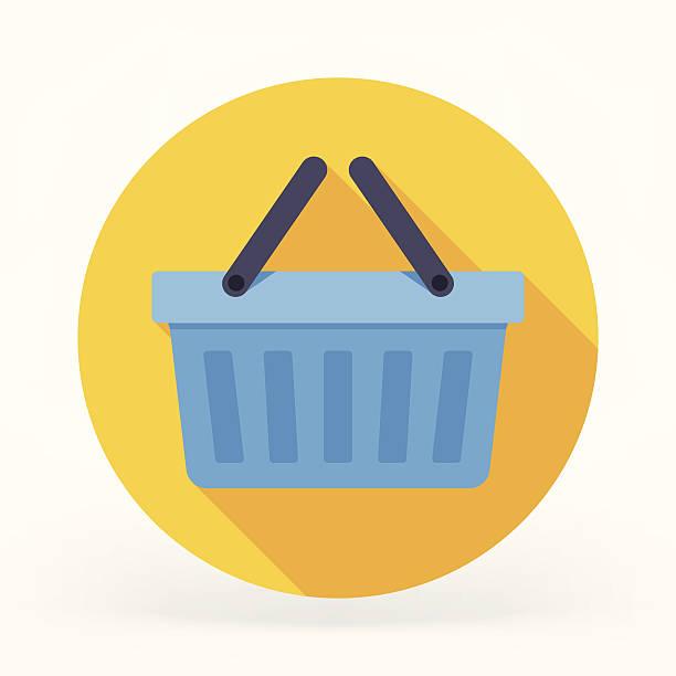 płaski ikony koszyka - kosz na zakupy stock illustrations
