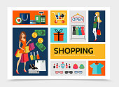 Flat shopping infographic template with women buying different products cart bag shirt present box dresses money cash register isolated vector illustration