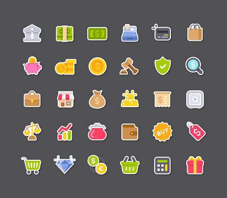 Flat Shopping Sticker Icons