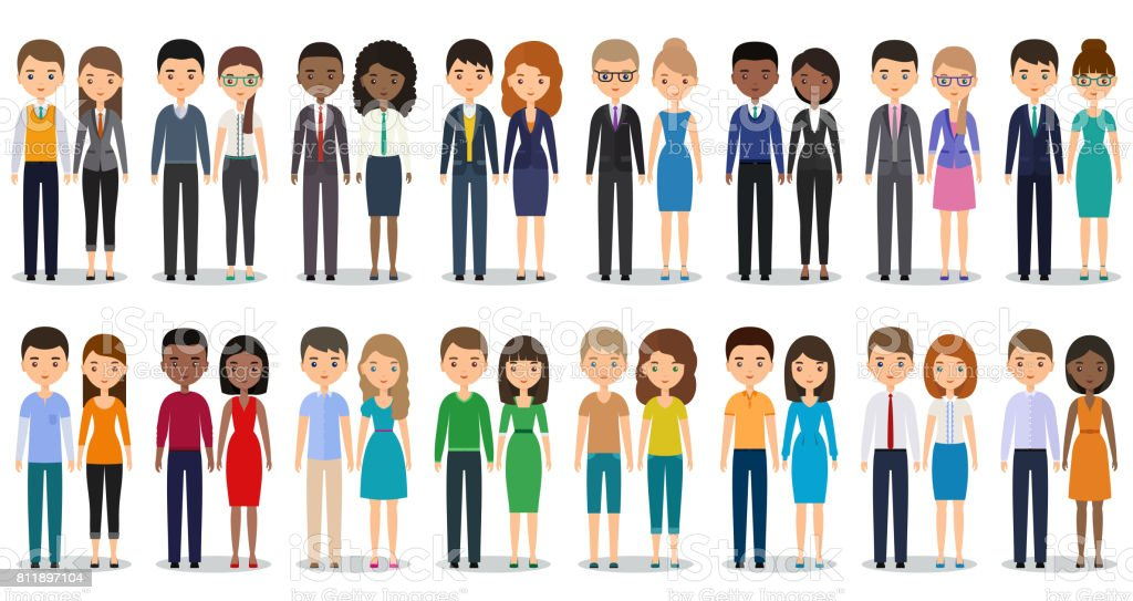 Flat silhouettes business people. Vector illustration. vector art illustration