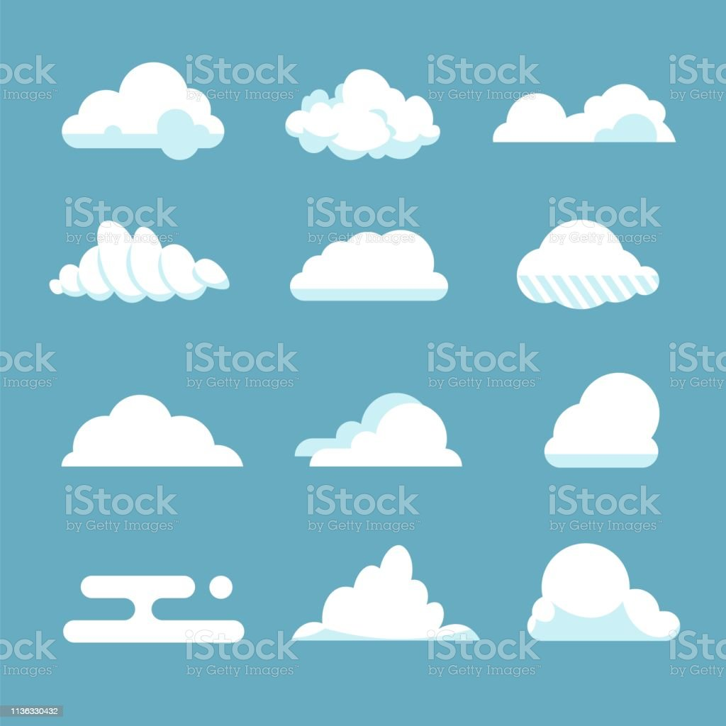 Flat sky cloud. Blue fluffy cartoon shapes white atmosphere cloudy elements vintage abstract overcast. Vector clouds Flat sky cloud. Blue fluffy cartoon shapes white atmosphere cloudy elements vintage abstract overcast. Vector clouds set Abstract stock vector