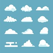 Flat sky cloud. Blue fluffy cartoon shapes white atmosphere cloudy elements vintage abstract overcast. Vector clouds set