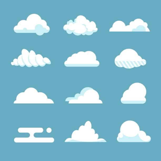 플랫 하늘 구름입니다. 푸른 무성 한 만화 모양 흰색 분위기 흐린 요소 빈티지 추상 흐린. 벡터 구름 - 구름 stock illustrations