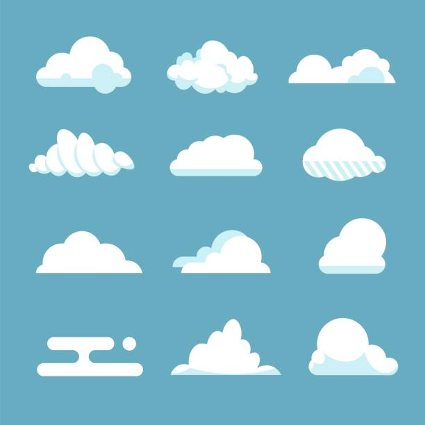 flat sky cloud. blue fluffy cartoon shapes white atmosphere cloudy elements vintage abstract overcast. vector clouds - chmura stock illustrations