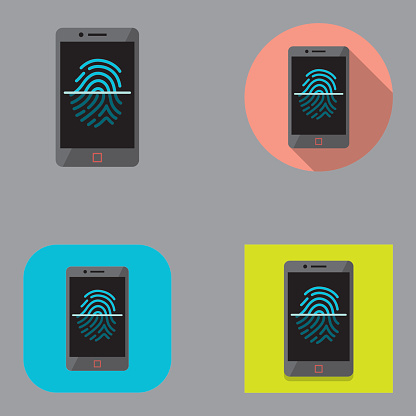 Flat Smartphone Fingerprint Scan icons   Kalaful series