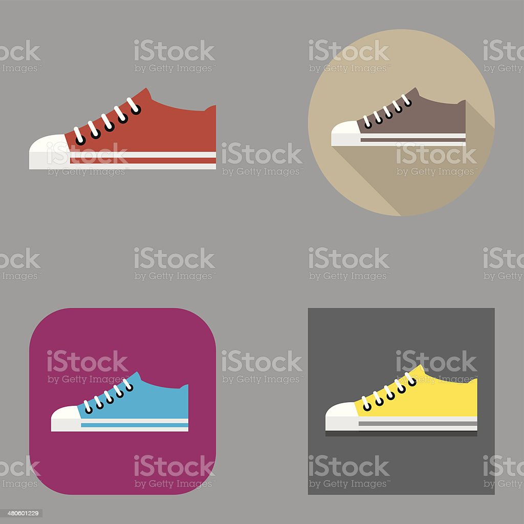 Flat Sneakers icons | Kalaful series vector art illustration