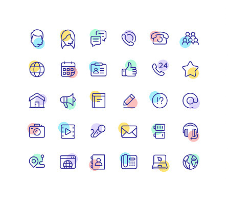 Flat Social Contact Color Line Icons