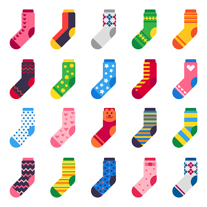 Flat socks. Long sock for child feet, elastic colorful fabric and striped warm kids ankle clothes vector icons set
