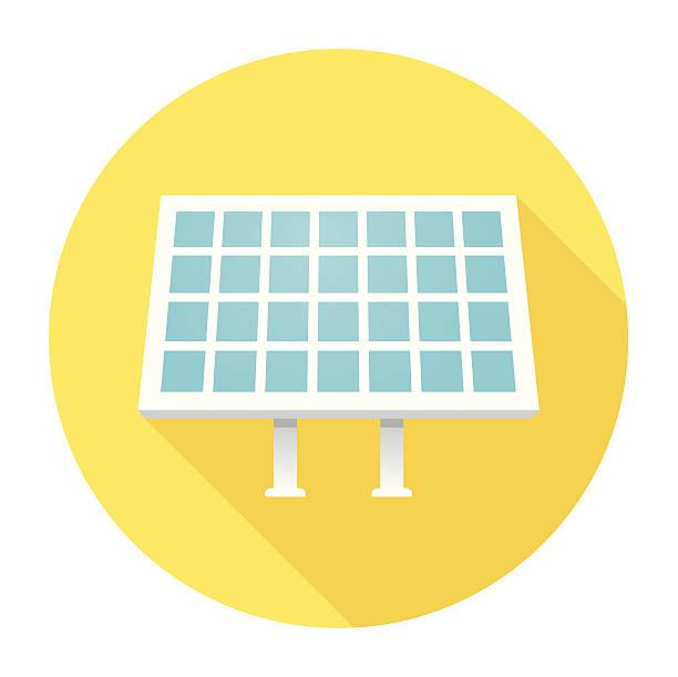 illustrazioni stock, clip art, cartoni animati e icone di tendenza di icona piatto con pannello solare - pannelli solari