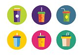 Flat soup vector icons collection