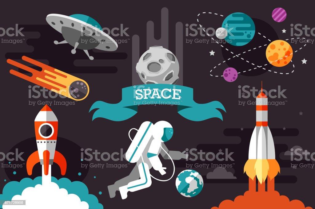 flat space set. rocket. cosmonaut.