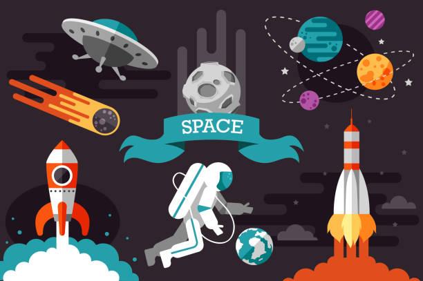flat space set. rocket. cosmonaut. - космос и астрономия stock illustrations