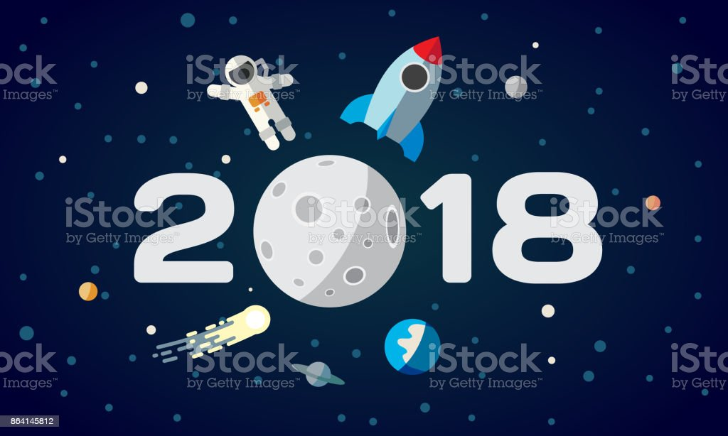 Flat space theme illustration for calendar. The astronaut and rocket on the moon background. 2018 Happy New Year cover, poster, flyer. vector art illustration