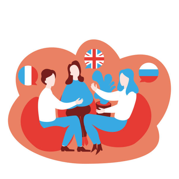 illustrazioni stock, clip art, cartoni animati e icone di tendenza di flat speaking club and discussion class. multilingual cartoon students learn english, french and russian in school, learning foreign languages course. conversation with flag in speech bubble - english