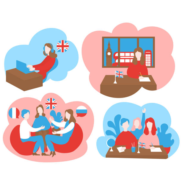 평평한 말하기 클럽, 토론 수업, audiopodcast 및 온라인 교육. 만화 학습 영어, 프랑스어, 러시아어 학교, 런던에서 외국 해외 학습 여행 언어 코스 - 잉글랜드 문화 stock illustrations