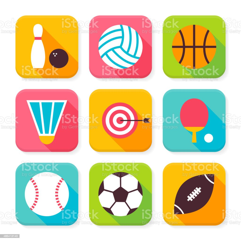 Flat Sport and Recreation Squared App Icons Set vector art illustration
