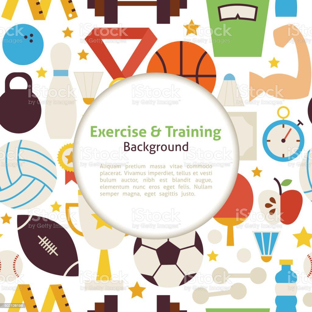 Flache Sport Sport Und Training Vektorhintergrund Stock Vektor Art ...
