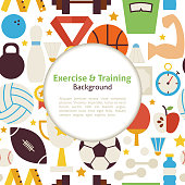 Flat Sport Exercise and Training Vector Background