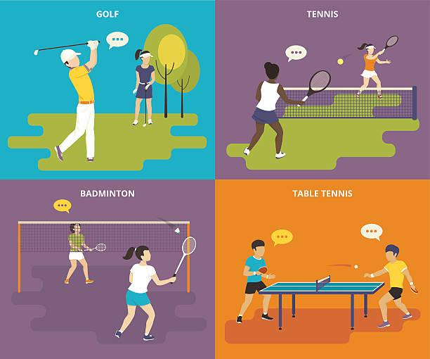 Conjunto de ícones plana de desporto - ilustração de arte vetorial