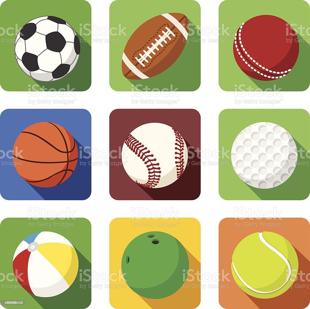 Flat sport icons vector art illustration
