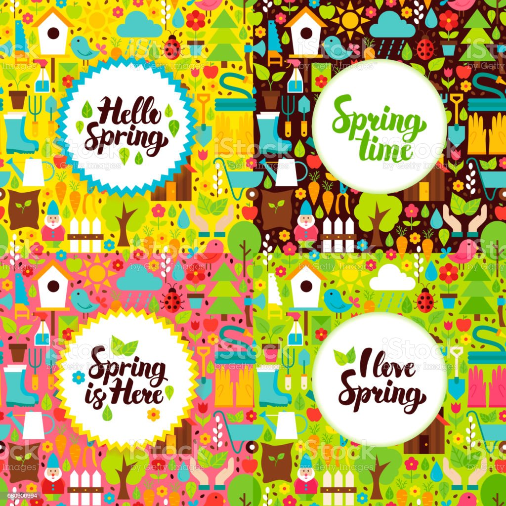 Flat Spring Garden Postcards royalty-free flat spring garden postcards stock vector art & more images of agriculture