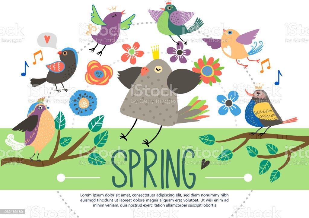 Flat Springtime Template flat springtime template - stockowe grafiki wektorowe i więcej obrazów barwne tło royalty-free