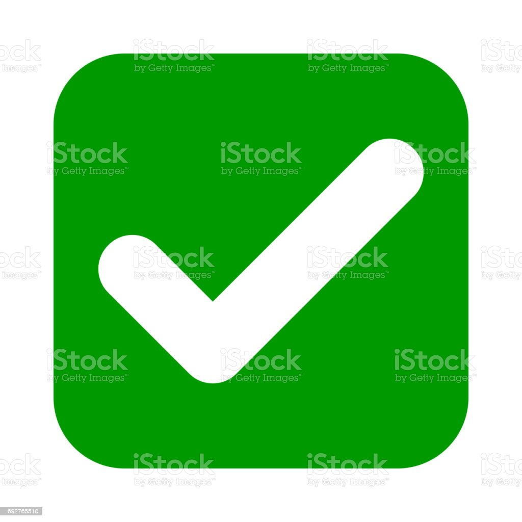 Flat square check mark green icon, button. Tick symbol.