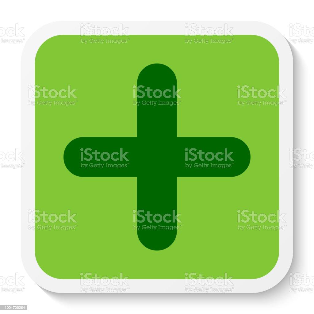 Flat Square Sticker Plus Sign Icon Button Positive Symbol Isolated