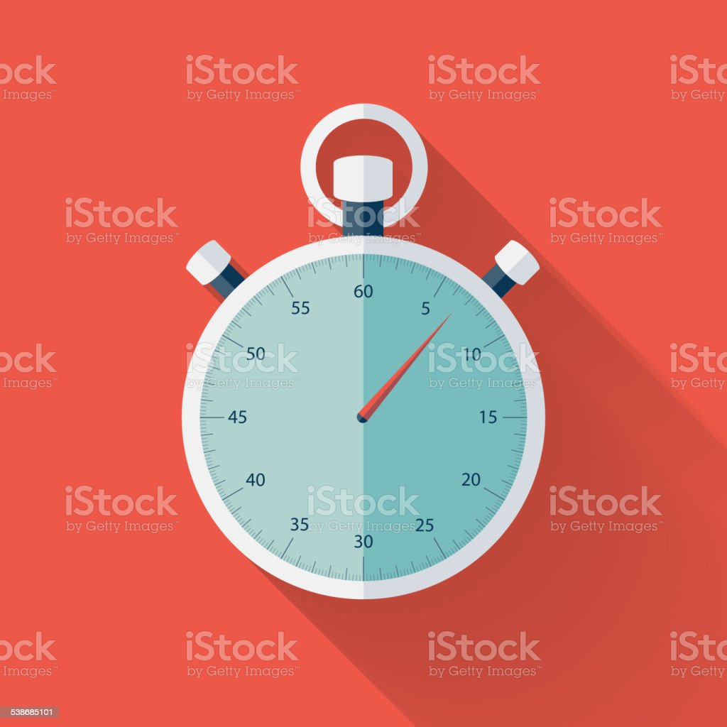 Flat stopwatch icon over red vector art illustration