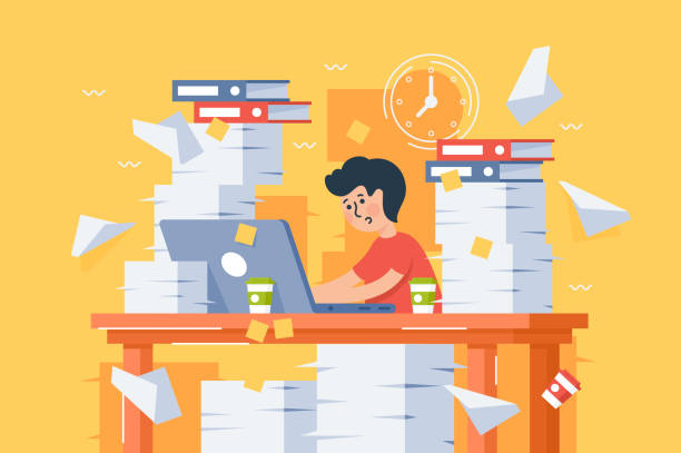 ilustrações, clipart, desenhos animados e ícones de a carga de trabalho-jovem ocupado plana estressante no trabalho. - afazeres domésticos
