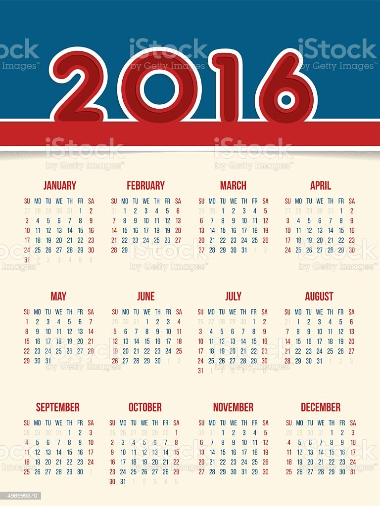 flat style 2016 calendar design stock vector art more images of