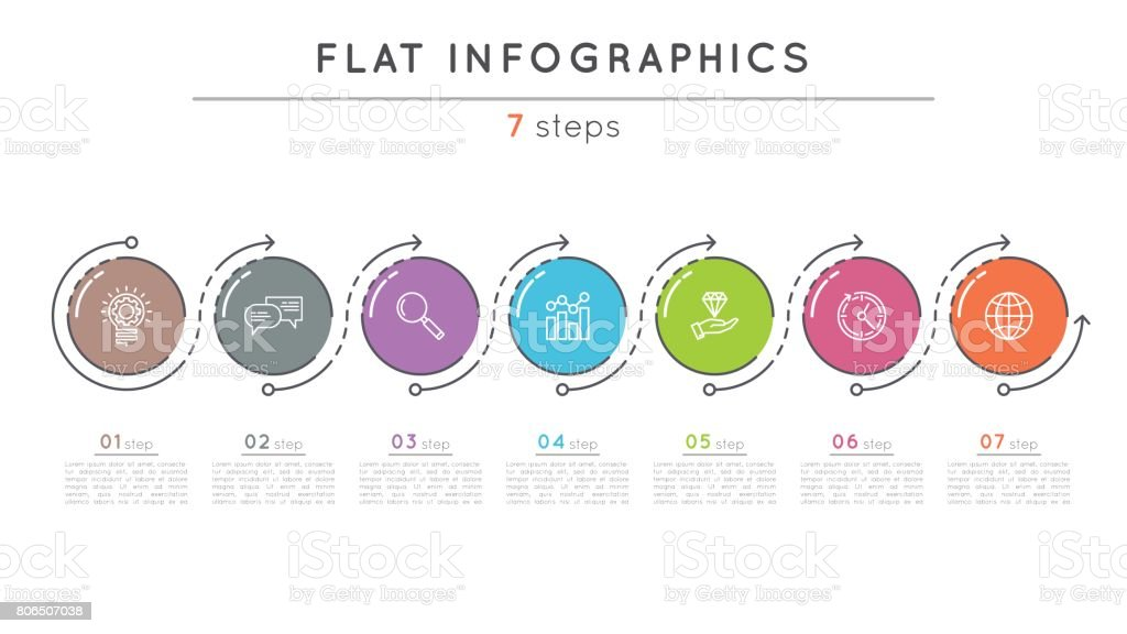 Flat Style Steps Timeline Infographic Template Stock Vector Art - Free timeline infographic template
