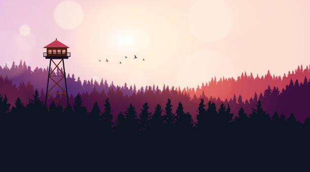 Flat Style Beautiful Landscape, Natural Parkland Illustration, with Wooden ViewPoint Building, Fire Lookout Tower. Flat Style Beautiful Landscape, Natural Parkland Illustration, with Wooden ViewPoint Building, Fire Lookout Tower. adventure backgrounds stock illustrations