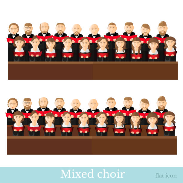 Flat style big mixed choir in two rows with black suits and red cover notes on white background Flat style big mixed choir in two rows with black suits and red cover notes on white background gospel choir stock illustrations