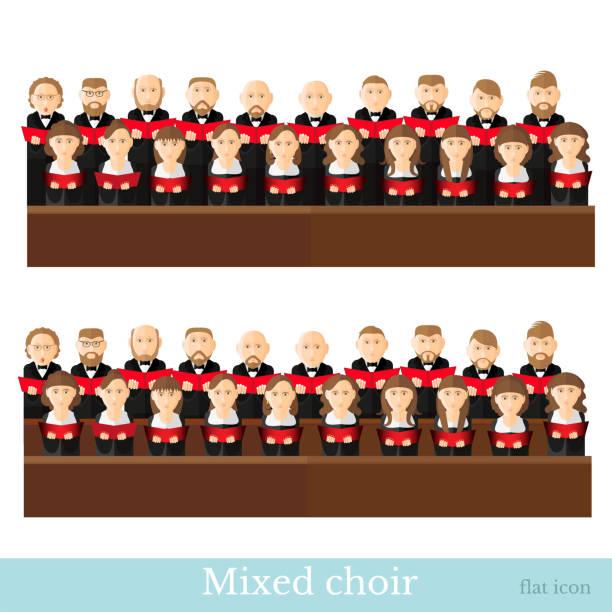 stockillustraties, clipart, cartoons en iconen met platte stijl grote gemengde koor in twee rijen met zwarte pakken en rode cover notes op witte achtergrond - tenor