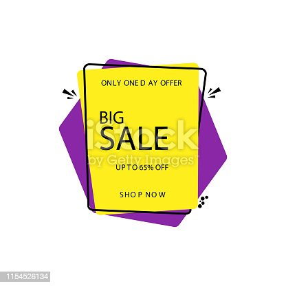Flat style Big Sale poster or template design with 65% discount offer.