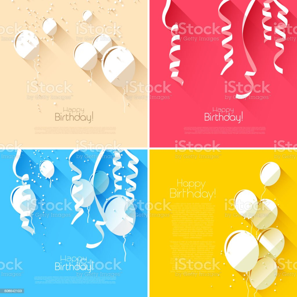 Flat style birthday backgrounds vector art illustration