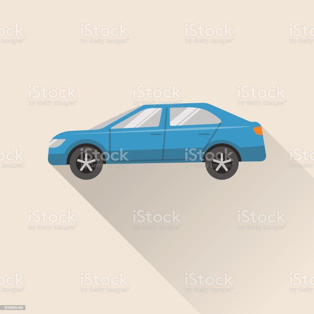Flat style car icon vector art illustration