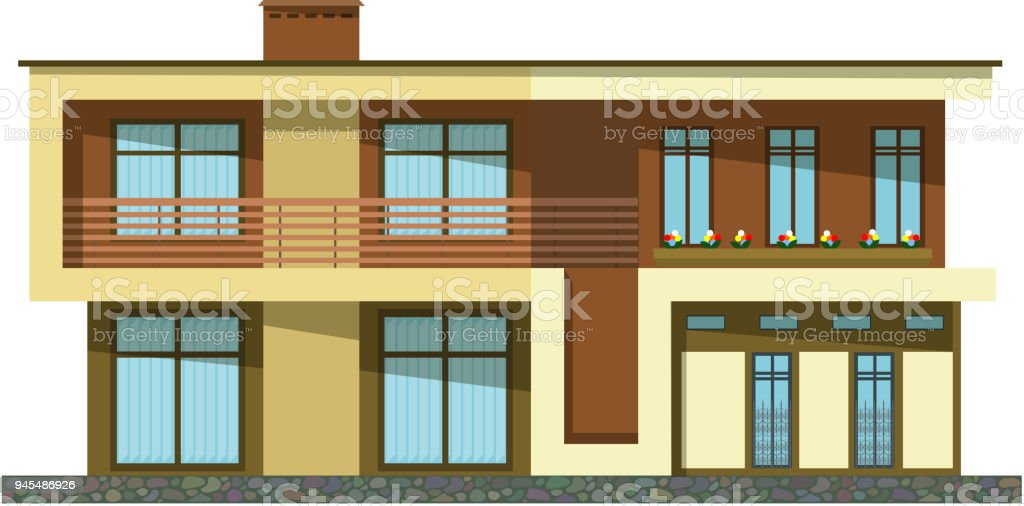 Flat Style Cartoon Building Modern Twostorey Private House With A Sloping Roof On A White Background Isolate Icon Building Stock Illustration Download Image Now Istock
