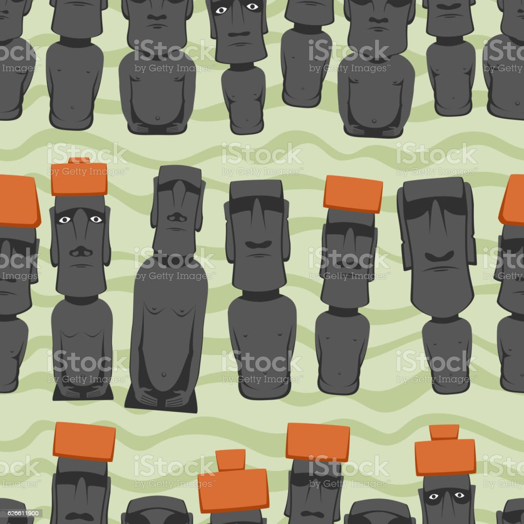 Flat style Cartoon Easter Island Rapa Nui seamless background with vector art illustration