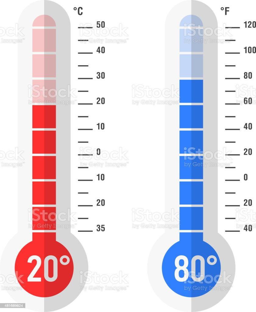 Flat style Celsius and Fahrenheit thermometers vector art illustration
