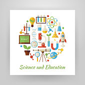 Flat Style Circle Set of Science and Education Objects over white Paper. Flat Design Vector Illustration. Collection of Chemistry Biology Astronomy Physics and Research Colorful Objects. Set of Back to School Items Isolated over white. Design Elements over Paper Template