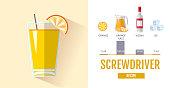 Flat style cocktail menu design. Cocktail screwdriver recipe