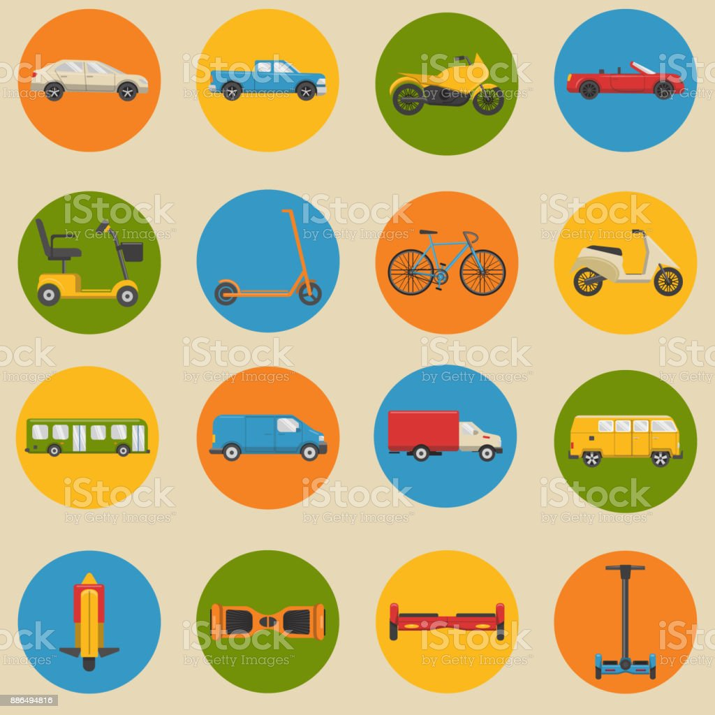 Flat style collection of transport icons vector art illustration