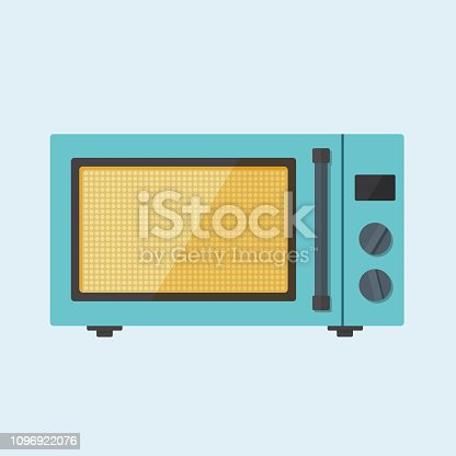 Colorful microwave oven flat style vector illustration isolated on lite blue background. Electric kitchen appliance to heat, preparing food, cooking.