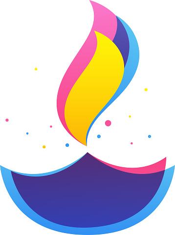 Flat Style Colorful Burning Diya On White Background.