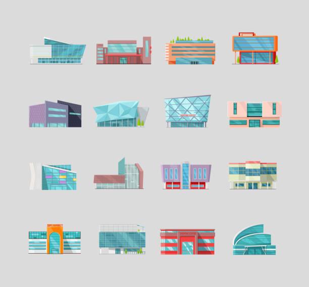stockillustraties, clipart, cartoons en iconen met platte stijl commerciële gebouwen collectie. - warenhuis