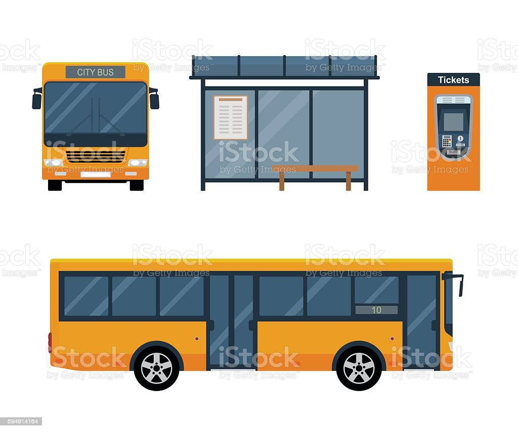 Flat style concept of public transport. vector art illustration